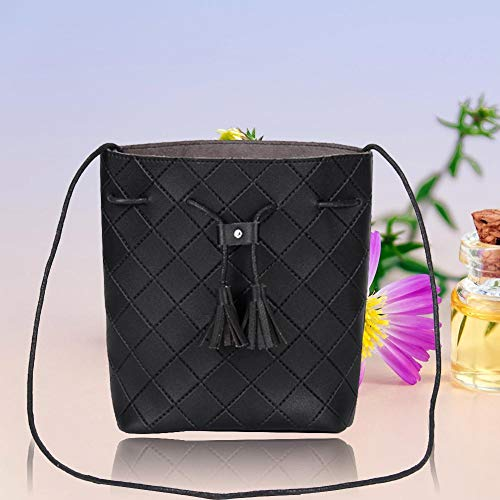 Leather Crossbody Fashion Black Handbags Bucket Tassel Women Bags Domybest Shoulder PU wXT6Rqagt