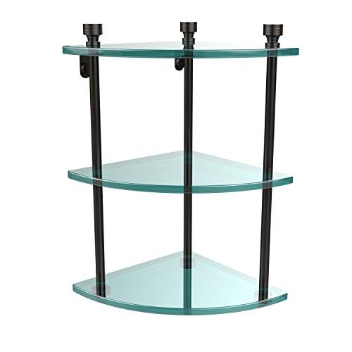 Allied Brass FT-6-ORB Foxtrot Collection Three Tier Corner Glass Shelf Oil Rubbed Bronze