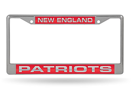 Chrome Rico Industries Inc FCL1502 NFL New England Patriots Laser Cut Inlaid Standard Chrome License Plate Frame