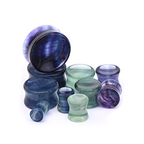 ne Double Flared Saddle Plugs - Sold as a Pair - Multiple Sizes Available (6mm (2GA)) (Fluorite Natural Stone Double Flare)