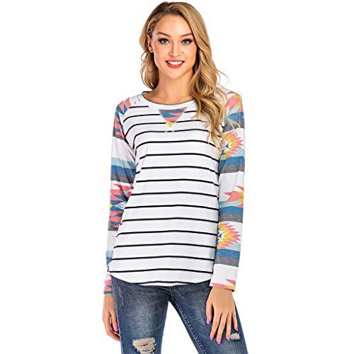 ANJUNIE Women Boho Stripe Print Pullover Color Block Tunic Tops Blouse Round Neck Splice Shirts Sweater(White,L) -
