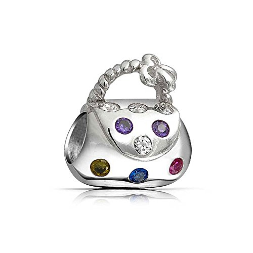 Multicolor CZ Clutch Purse Pocketbook Hand Bag Charm Bead For Teen For Women 925 Sterling Silver Fits European Bracelet