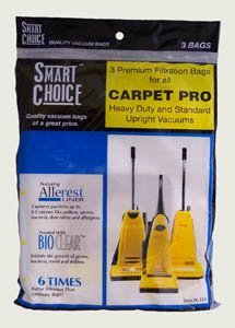 Genuine Carpet Pro Upright Bags - 3 Pack (Pro Carpet Bags Vacuum)