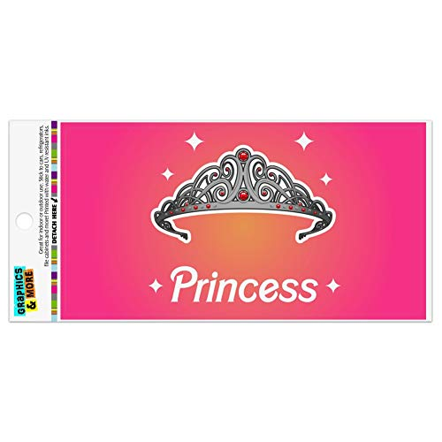 Graphics and More Princess Crown Tiara Pink Background Automotive Car Refrigerator Locker Vinyl Magnet