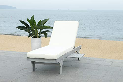 Safavieh PAT7022H Outdoor Collection Newport Ash Grey and White Chaise Side Table Lounge Chair