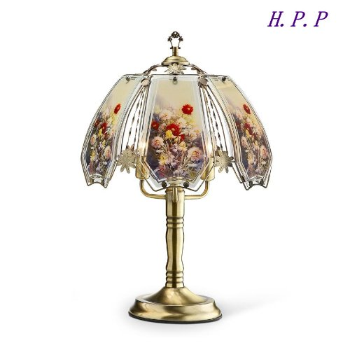 H.P.P. 23.5''H NEW Glass Floral Touch Table Lamp w/ Gold Finish Base