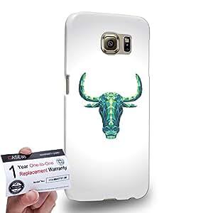 Case88 [Samsung Galaxy S6] 3D impresa Carcasa/Funda dura para & Tarjeta de garantía - Art Fashion Zodiac Taurus Geometric Combination
