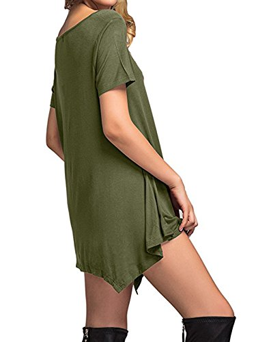 Long Century Simple T Star Loose Plain Sleeve Length Flowy Green army Fall Casual Knee amp; Short Shirt Winter Thin Dress Soft Dress Women's Sleeve WnXwn7zvr