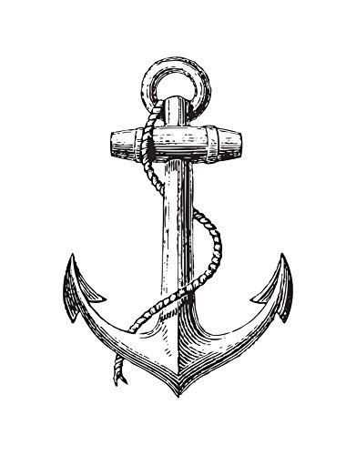 Stickerbrand Ship Anchor Wall Decal Home Decor - Multiple Colors Available, 31in x 21in. #541A. Nautical Antique Design.