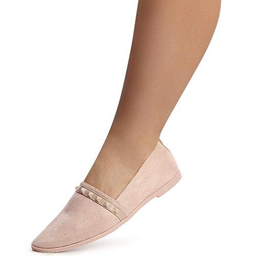 topschuhe24 1326 Damen Slipper Loafer Ballerina Mokassins Velours Rose