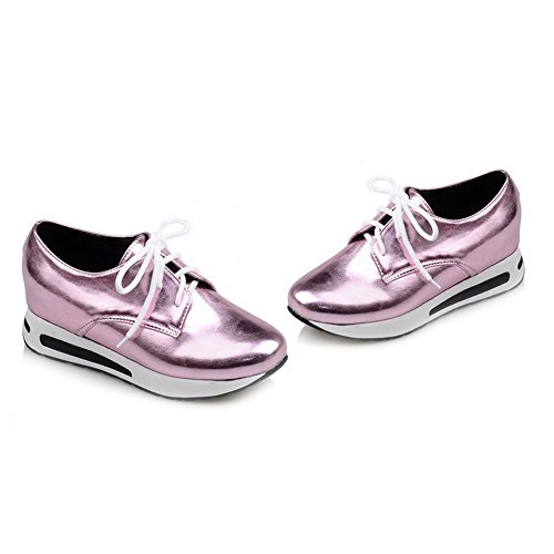 VogueZone009 Damen Blend-Materialien Schnüren Spitz Zehe Niedriger Absatz Rein Pumps Schuhe Lila