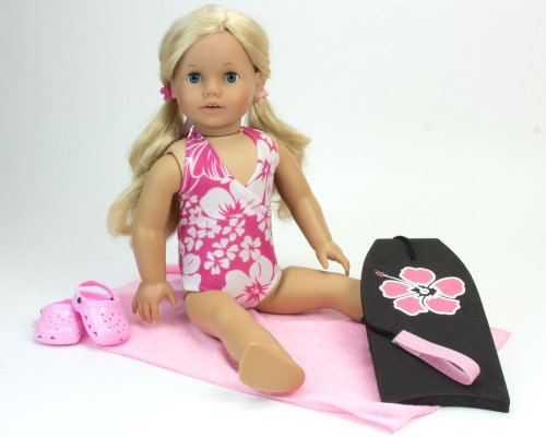 American Pool (18 Inch Doll Bathing Suit Beach & Pool Set, 4 Pc. Set fits American Girl Dolls & More! Floral 18 Inch Doll Swimsuit, Beach Towel, Doll Water Sandal Shoes, & Matching Doll Surf Board)