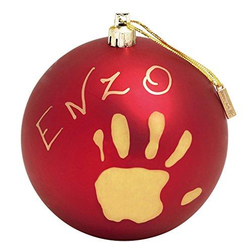 Baby Art Weihnachtskugel aus Kunststoff für Handabdruck und Namen des Kindes, matt rot