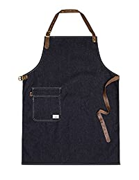 USKEES CHORLTON Denim Bib Apron - Indigo chef barista adjustable leather straps