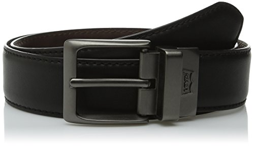 Levi's Men's 38mm Reversible Feather Edge Belt, Black/Brown, 34 (Brown Feather Edge)