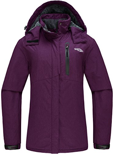 Wantdo Women's Detachable Hood Waterproof Fleece Lined Parka Windproof Ski Jacket Purple US (Fleece Lined Anorak)