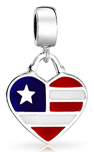 - Heart USA Patriotic American Flag Dangle Charm Bead For Women Teen 925 Sterling Silver Fits European Bracelet