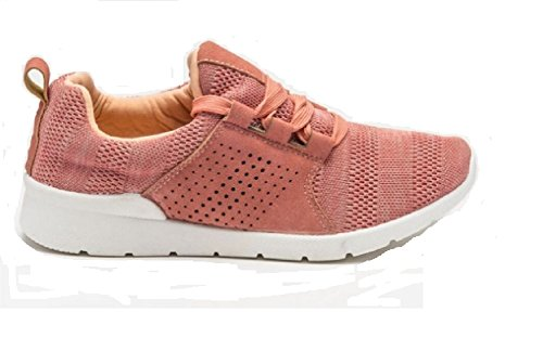 Koo-T Women's Ladies Trainers Size 3 4 5 6 7 8 Textile Knitted Lace Up Soft Canvas Pink