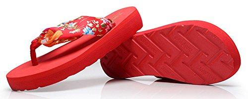 Sfnld Womens Fashion Boho Flip Flop Platform Beach Slippers Thong Wegde Heel Sandals Red hB9xGX