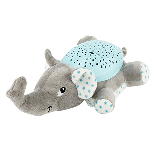 Tracfy LED Plush Stuffed Animal Toys Projector Baby Sleep Night Light Soothers Music Sky Star Lamp Toys For Baby Kids, Grey Elephant - Elephant Infant Lamp