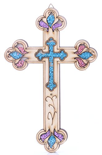 Zuluf Wooden Christian Cross with Simulated Gemstones Wall Plaque Decor - Perfect Gift HLG018