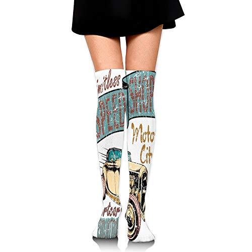 Over Knee High Socks,Limitless Speed Shop Advert with a Vintage Sports City Evolution Print,60CM (Socks Christmas Advert)