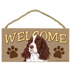 "SJT ENTERPRISES, INC. Springer Spaniel Welcome Sign 5"" x 10"" MDF Wood Plaque (SJT61569) 5"