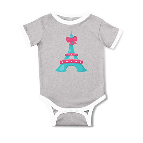 Cute Rascals Eiffel Tower Pink Bow Short Sleeve Taped Neck Boys-Girls Cotton Baby Soccer Bodysuit Sports Jersey - Oxford Gray, 12 Months