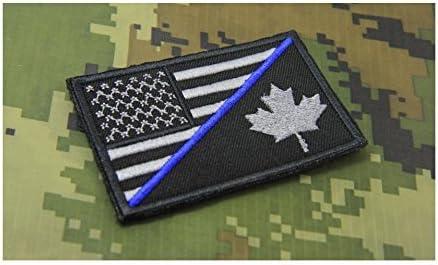 Delgada línea azul americano bandera, bandera de Canadá parche Moral bordado Hook Backing (9 x 5,5 cm) por nueva marca: Amazon.es: Hogar
