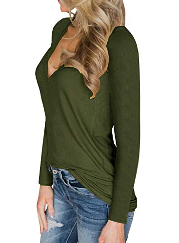 Casual Automne Femmes Top Manches Col Tricot Pull Flaschengr V Hiver Longues Shirt Sexy Yidarton Rn8PqTHq