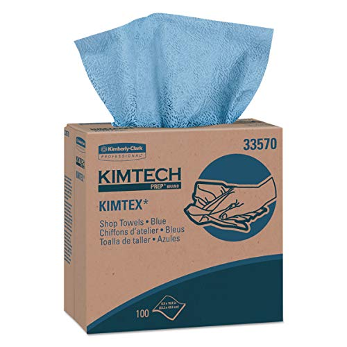 (Kimtech 33570 KIMTEX Wipers, POP-UP Box, 8 4/5 x 16 4/5, Blue, 100 per Box (Case of 5 Boxes))