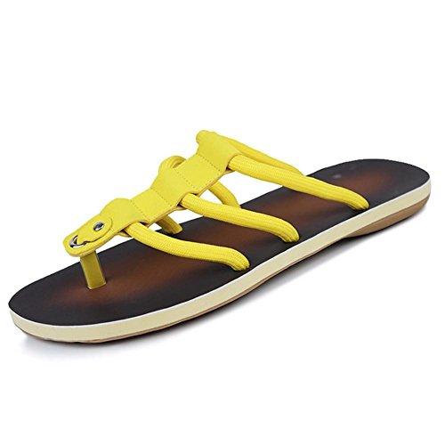 SHANGXIAN Hombres zapatillas y sandalias confort zapatos Casual plana talón negro amarillo caminar Yellow