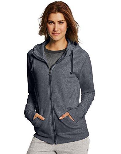 Fleece Full Zip Hood Sweatshirt - Champion Women's Fleece Full-Zip Hoodie, Granite Heather, Large