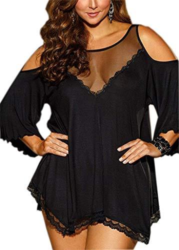 Pinklove Women Plus Size Babydoll Jersey Knit Camisole Dress Lace Trim Lingerie (XXX-Large, Black)