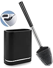 Boperzi Toilet Brush and Holder Set Wall Mounted, Anti Rust WC Silicone Bristles Toilet Bowl Cleaner Brush Kit with Tweezer and Stainless Steel Handle for Bathroom Storage Household-P