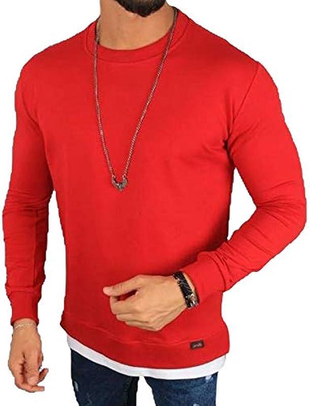 Megaman sweter męski oversize bluza z okrągłym dekoltem sweter Premium koszulka z długim rękawem Basic jednokolorowa rozmiar XL czerwony: Odzież