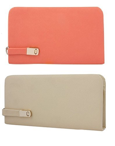 K KAPARROW Women's PU Leather Clutches Combo (Cream and Peach)