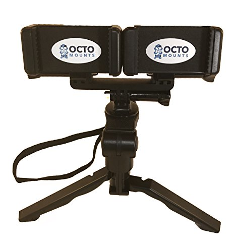 Octo Mount - Dual Cell Phone Tripod & Hand Grip Mount. Works with iPhone, GoPro, Android, Samsung. (2 Device Pro Tripod)