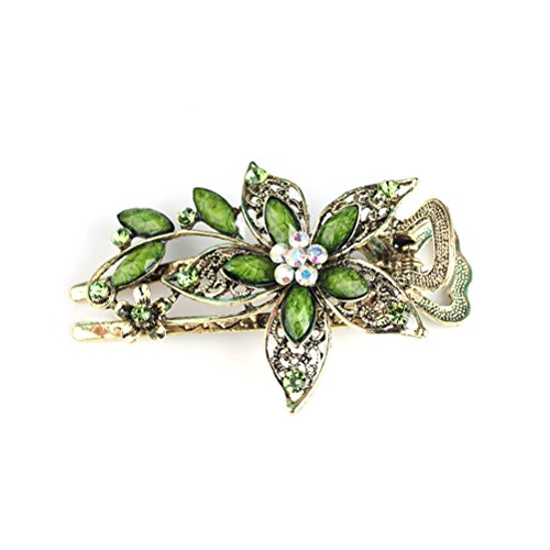 Frcolor Vintage Jewelry Crystal Hair Clips Hairpins- For Hair Clip Beauty Tools(Green) ()