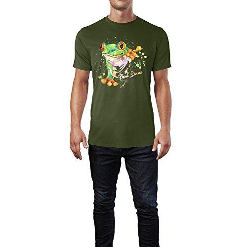 SINUS ART® Exotischer Frosch in Aquarell Optik Herren T-Shirts in Armee Grün Fun Shirt mit tollen Aufdruck