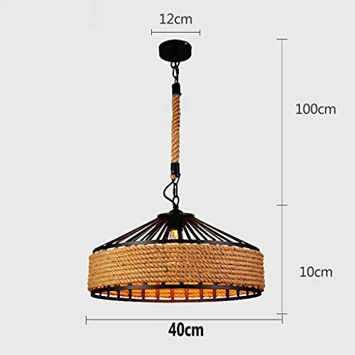 deng American Hemp Rope Iron Pendant Lamp Parlor/Coffee House/Dining Room/Bar/Shop Indoor Lighting E27 Lamp Holder 110-240V ()