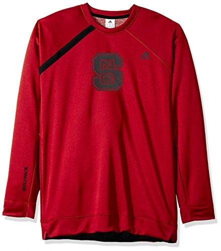adidas NCAA North Carolina State Wolfpack Mens On Court L/S Shooting Shirton Court L/S Shooting Shirt, Power Red, ()