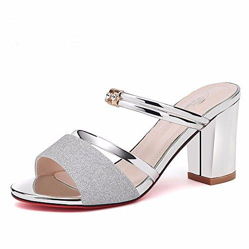 Due eu Trascinare Tacco Alto Pantofole 5 No E argento uk3 us5 55 Shoes 5 cn35 Scarpe Estate Vestire Raffreddare Moda Ladies Scarpe 36 wcvTczCq