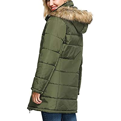 KANCY KOLE Women's Thickened Parka Jacket Faux Fur Hooded Winter Warm Coat S-XXL: Clothing