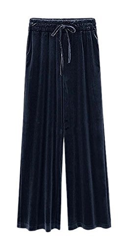 ARJOSA Women's Casual Pockets Drawstring Velour Track Pants Lounge Velvet Trousers (XL /14, Blue)