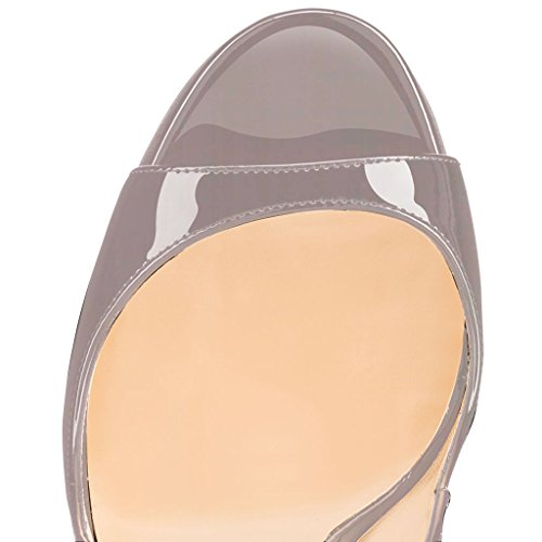 Schuhe 120mm Heels Schnalle Sandalen Toe Öffnen Zehe Grau EDEFS Peep Slingback Damenschuhe High mit Stiletto SUxwwOqT5