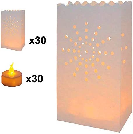 AceList 30-Set Luminary Bag with Candles Flameless Tea Lights, Fire Resistant Paper Decoration for Wedding, Gift for Mother s Day Ramadan, Star Design for Parties Birthday Garden Cafeteria Dinner