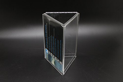 FixtureDisplays 4 x 6 Acrylic Sign Holder for Tabletops, 3-sided Fixture with Open Center - Clear 19114