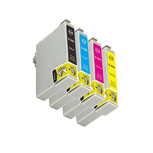 INKARENA T068 T0681 Compatible Ink Cartridge Replacement For Epson WorkForce 310 WFC315 500 600 610 615 1100 Printer Full With Ink Black Cyan Magenta Yellow Cratridge Photo #2