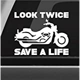Look Twice Save A Life Vinyl Decal Bumper Sticker Motorcycle Safety Awareness Car Window Decal